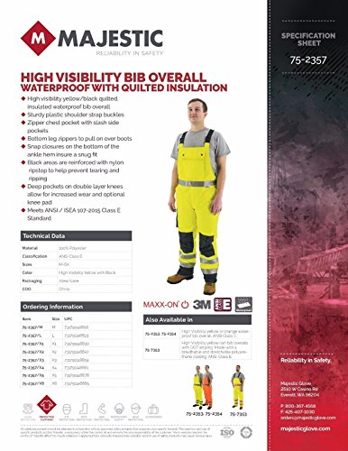 Majestic 75-2357 ANSI Class E Hi-Viz Bib Overalls, Waterproof, Quilted Insulation, Reinforced Nylon Rip-Stop, Zippers at Ankle, 3M Scotchlite, Yellow/Black, Size: XL by Majestic (Image #3)