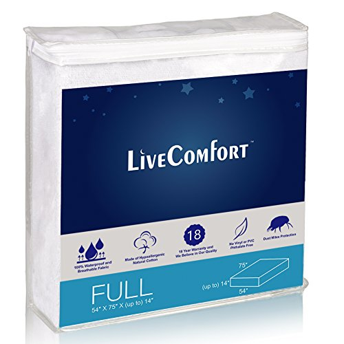 LiveComfort Mattress Protectors, Full Waterproof Mattress Protector, Vinyl-Free Hypoallergenic Mattress Protector with Dust Mite Protection (80% Cotton and 20% Polyester Fiber)