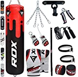 RDX Punch Bag Filled Set Kick Boxing MMA Heavy Training Gloves Punching Mitts Hanging Chain Ceiling...