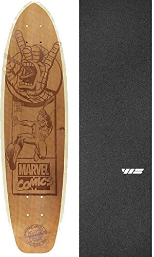 "Santa Cruz Skateboards Marvel Spiderman Engraved Skateboard Deck Limited Edition - 8"" x 31"" with Jessup Die-Cut Grip Tape - Bundle of 2 items"