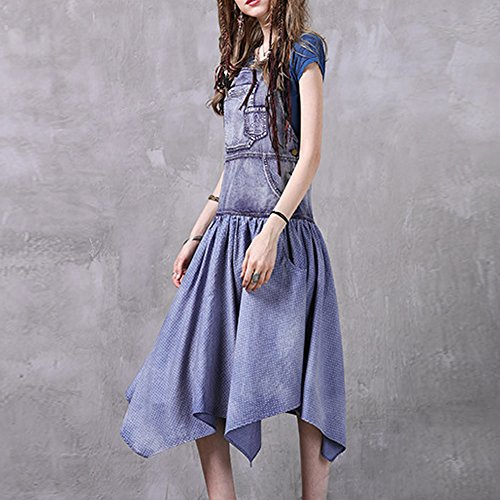 Kleider Damen Denim Partykleid Arm Kleid girl LHA82035 Maxi Blau Ohne Cocktail E qwT6BOZq