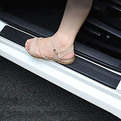 SENYAZON Car Threshold Pedal Sticker for Dodge Journey Decoration Scuff Plate Carbon Fibre Vinyl Sticker Car Accessories car-Styling Blue
