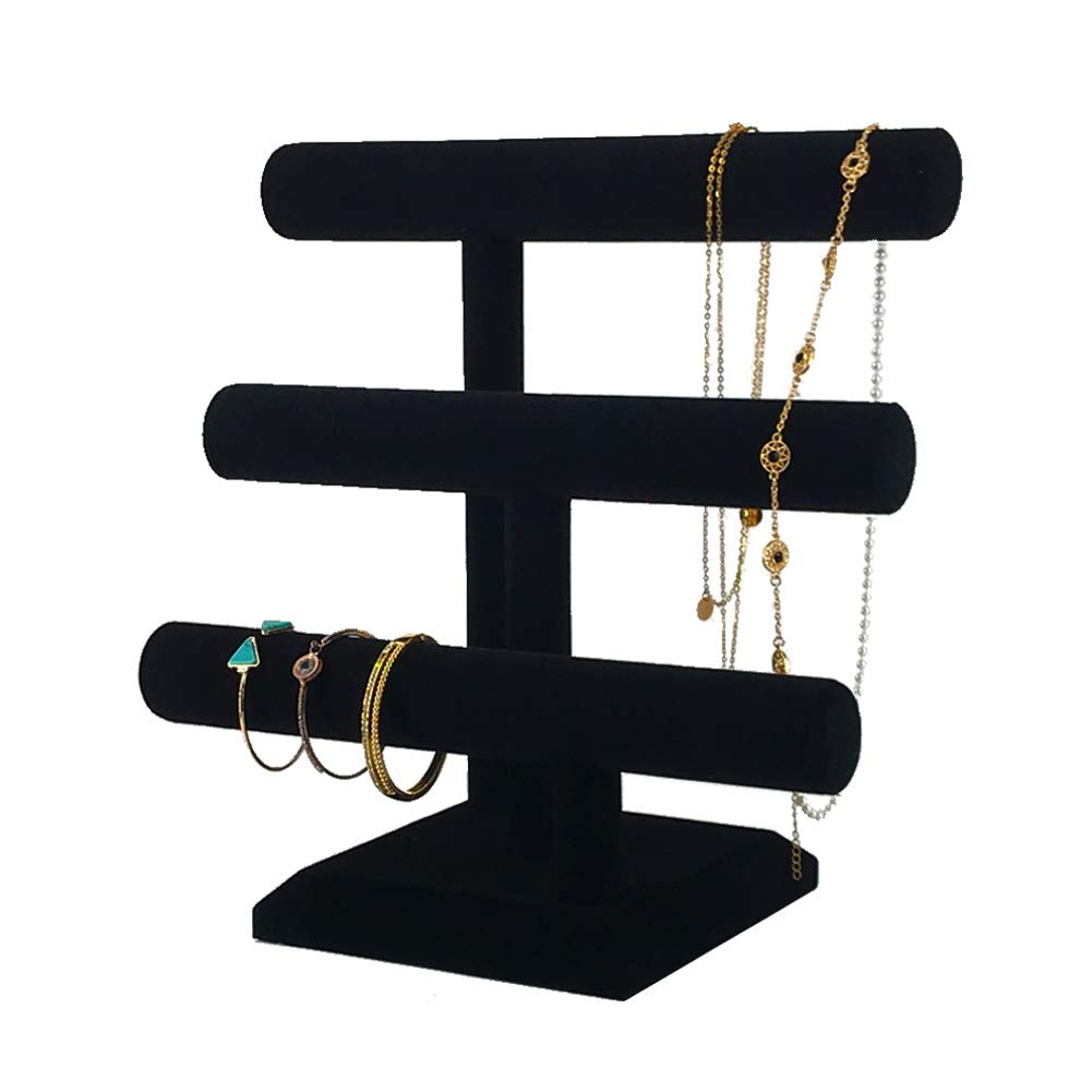 7TH VELVET Jewelry Organizer Display Stand with 3 Tier, Necklace Bracelet and Watch Holder Display Stand, Black Velvet T-Bar Table Top Jewelry Tower, Thin Roll