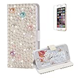 Funyye Diamond Wallet Cover for iPhone 6,Luxury 3D Rose Pearl Design Crystals Bling Magnetic Flip Case Kickstand Feature Card Slots Soft Silicone PU Leather Case for iPhone 6/6S