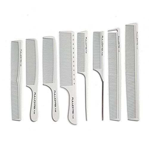 White salon professional barber carbon comb heat-resistant anti-static hair comb set of 8 hairdressers ()
