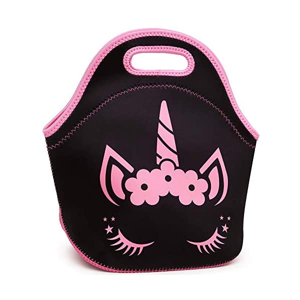 Moonmo Cat Face Unicorn Face Insulated Neoprene Lunch Bag for Women and Kids - Reusable Soft Lunch Tote for Work and School (Cat Black) 3