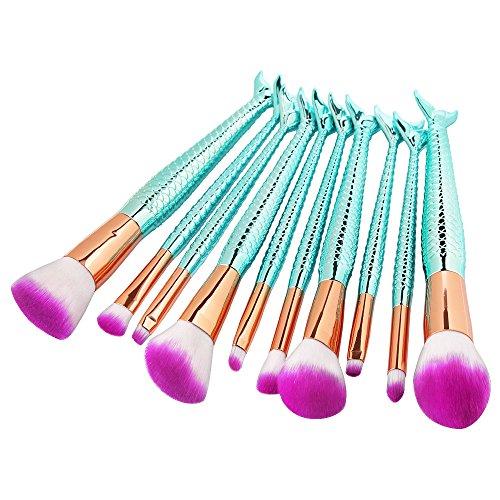 Mermaid Makeup Brushes Set Cinidy 10pcs Makeup Brush Synthetic Kabuki Cosmetic Brushes Powder Foundation Blending Blush Eyeshadow Eyeliner Brush Beauty Tools (Mermaid Makeup Tutorial)