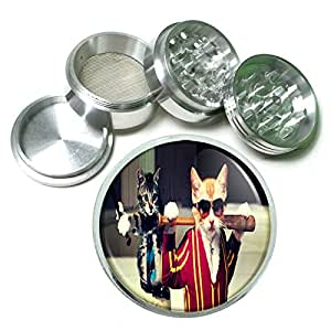 Funny Cat D5 Herb & Spice Grinder 63mm 4 Piece Aluminum Silver Metal Cute Silly Kitten