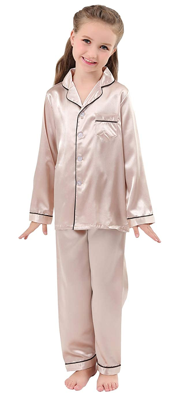 d9a3529a22 Amazon.com  JOYTTON Kids Satin Pajamas Set PJS Long Sleeve Button-Down  Sleepwear Loungewear  Clothing