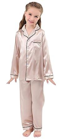 191f3753d59 JOYTTON Kids Satin Pajamas Set PJS Long Sleeve Sleepwear Loungewear  Champagne