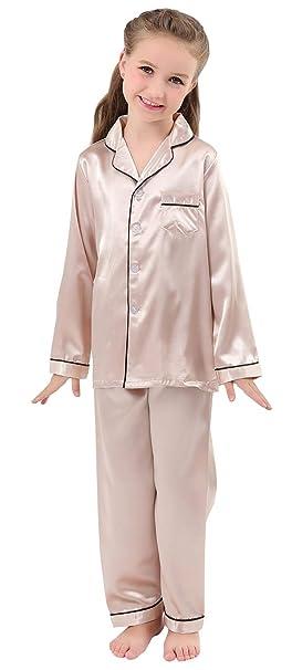 2fe42a879 Amazon.com  JOYTTON Kids Satin Pajamas Set PJS Long Sleeve Button-Down  Sleepwear Loungewear  Clothing