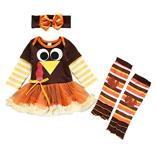 Thanksgiving Outfit Baby Girl Tutu Romper Dress Bodysuit Leg Warmers Headband Set 6-12 Months Brown