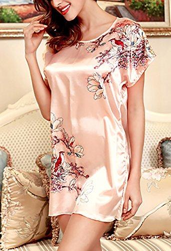Manica Comfort Pink Notte Donna Giovane Pigiama Girocollo Larghi Camicie Floreale Homewear Corti Estivi Vestiti Donne Da Corta Elegante Ragazze Pigiami Casuali Stampati qSZS4t