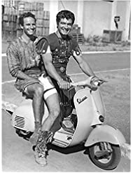 Charlton Heston 8 inch by 10 inch PHOTOGRAPH Planet of the Apes The Ten Commandments Ben-Hur B&W Pic Full Body Riding Double on Scooter w/Co-Star kn