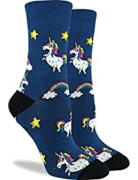 Good Luck Sock Women's Unicorns Crew Socks - Blue, Adult Shoe Size 5-9