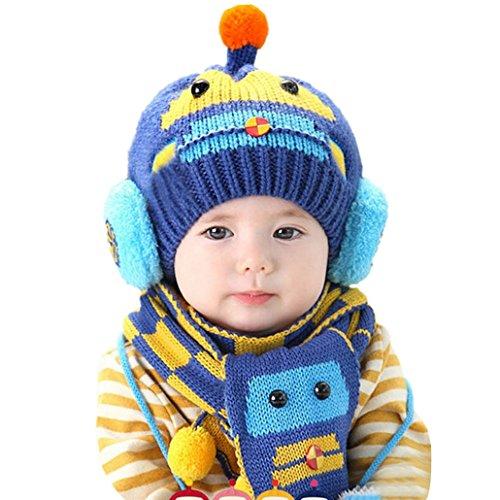 13ad47a8a87a7 Happy cherry - (Set de 2 )Bufanda y Gorro de Lana Invierno Otoño Caliente  para Bebés niños niñas - Diseño de coche - Azul  Amazon.es  Bebé