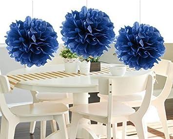 heartfeel 8pcs navy blue tissue paper pom poms flower ball hanging pom wedding party outdoor - Pom Pom Decorations