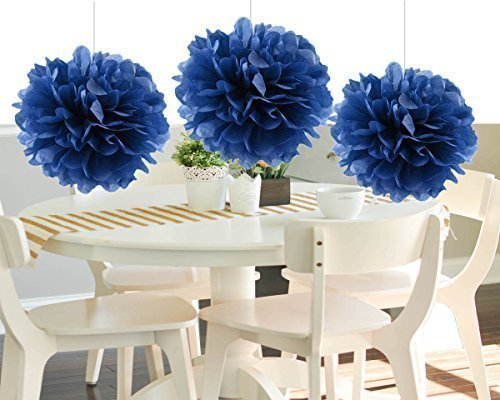 HEARTFEEL 8pcs NaVy Blue Tissue Paper Pom-poms Flower Ball Hanging Pom Wedding Party Outdoor Decoration Wedding Nursery Decorations Bridal Shower Party Room Decor by HEARTFEEL