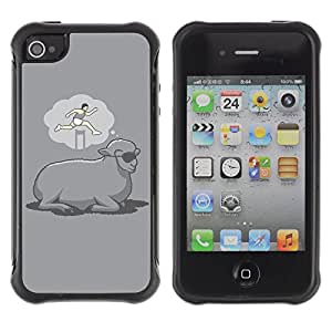 ZAKO Cases / Apple Iphone 4 / 4S / Funny Deaming Sheep / Robusto Prueba de choques Caso Billetera cubierta Shell Armor Funda Case Cover Slim Armor