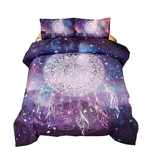 Enman-home Bohemian Galaxy Dream Catcher Comforter Set Kids Teens Mandala Bedding Quilt Queen Size +2X Pillowcases