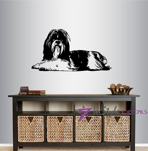 Wall Vinyl Decal Home Decor Art Sticker Long Haired Shih Tzu Dog Lying Down Pet Animal Pet Shop Grooming Salon Nursery Room Removable Stylish Mural Unique Design