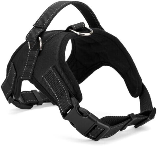 UEETEK Perro Durable Nylon Oxford Estilo del arnés de la Silla de Montar para Perro Mediano Grande - Talla L (Negro)