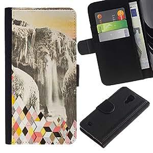 EuroTech - Samsung Galaxy S4 IV I9500 - Mountains Abstract Polygon Glacier - Cuero PU Delgado caso Billetera cubierta Shell Armor Funda Case Cover Wallet Credit Card