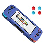 Nintendo Switch Protection Leather Case, HONGYE PU Leather Case with 4pcs Silicone Thumb Caps for Nintendo Switch (Blue)