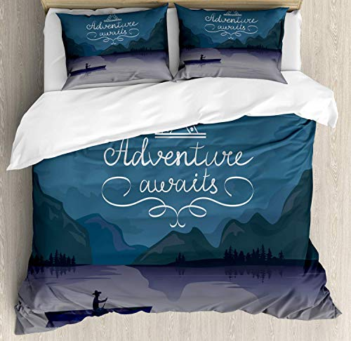 Hostline Adventure Awaits Duvet Cover Set King Size, Kayak in a Mountain Lake at Night Camping Activity Lifestyle Quote, Decorative 4 Piece Bedding Set with 2 Pillow Shams, Purple Grey Teal
