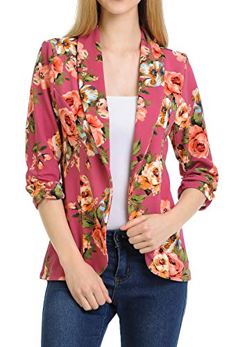 MINEFREE Women's 3/4 Ruched Sleeve Lightweight Work Office Blazer Jacket MAUVEPINKBLUE 3XL