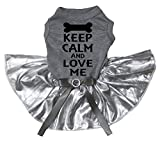 Petitebella Puppy Clothes Dog Dress Keep Claim Love Me Grey Shirt Silver Tutu (XX-Large)