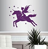 Wall Vinyl Decal Home Decor Art Sticker Beautiful Fairy Riding Magical Unicorn Fantasy Bedroom Living Room Removable Stylish Mural Unique Design