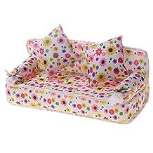 MagiDeal Premium Mini Furniture Set Flower Sofa Couch +2 Cushions For Barbie Dolls