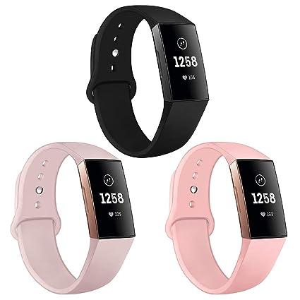 Kmasic Correa Compatible con Fitbit Charge 3 & 3 Pulsera De Reemplazo Deportiva Banda De Silicona Suave Fitbit Charge 3 Fitness Smartwatch, Pequeño ...
