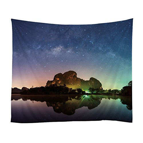 Xinhuaya Romantic Night View Tapestry Natural Landscape Printed Bedroom Living Room Dorm Wall Hanging (51 W by 60