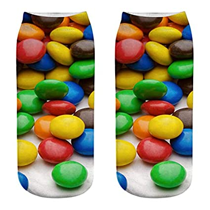KathShop 1 Pair 11 Color Women ren Socks Cute 3D Candy Print Socks Female Low Cut