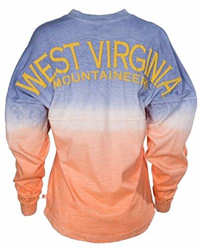 Official NCAA West Virginia University Mountaineers Hail WVU Women's Long Sleeve Tie Dye Spirit Wear Jersey T-Shirt