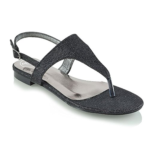 Essex Glam Womens Flat Toe Post Black Glitter Slingback Summer Sandals 9 B(M) US