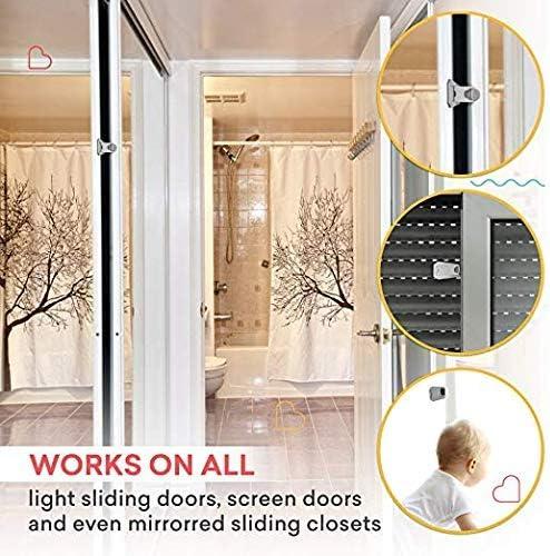 iwobi 4 Pcs Baby Sliding Door Locks Keyless Child Safety Locks for Patio,Closet,Shower Sliding Doors,Shutters