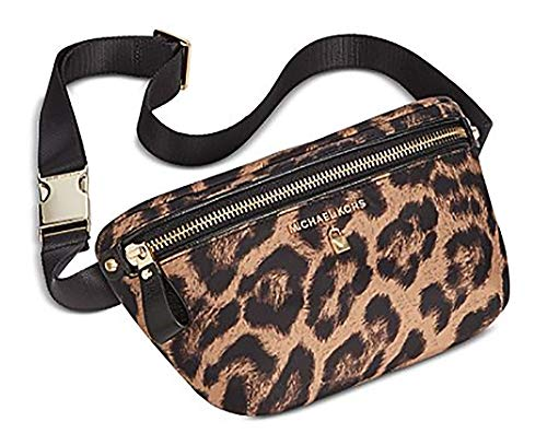 Michael Kors Woman's Leopard Animal Print Nylon & Saffiano Leather Trimmed Waist Bag, Belt Bag, Fanny Pack, Hip Bag, Bum Bag