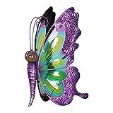Exhart Solar Glass Butterfly Statue, Statuary, Solar – Glass Statues, Outdoor/Garden / Yard/Driveway Lights, Purple