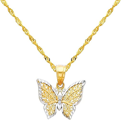 TWJC 14k REAL Two Tone GoldI Love You Arrow Heart Charm Pendant