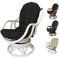 Rattan Swivel Rocking Chair Erick with Cushion (White - Black Cushion)