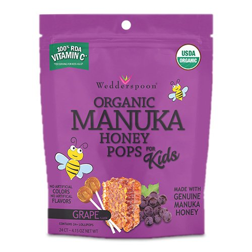 Wedderspoon Wedderspoon Organic Manuka Honey Pops for Kids, Grape, 24 Count, Unpasteurized, Genuine New Zealand Honey, 100% Rda Vitamin C, 4.2 Ounce