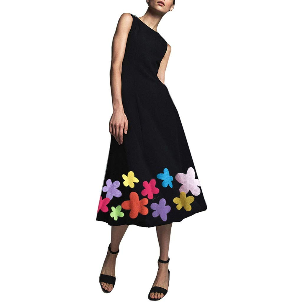 Women's Sleeveless Printed Dress Floral Printed Casual Loose Long Maxi Party Beach SADUORHAPPY Dress by SADUORHAPPY Dress