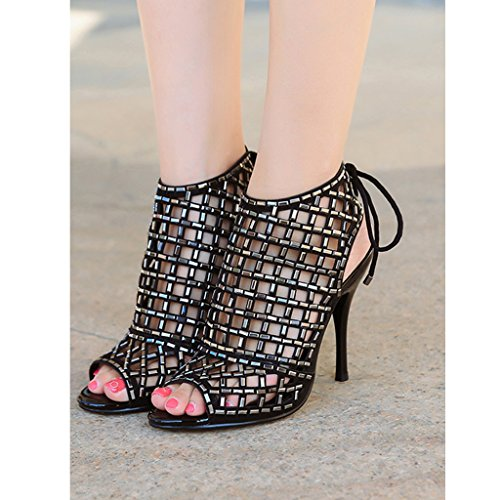 Taille Couleur Banquet Talons Noir Height US5 UK4 10cm Femmes Sexy Mesdames Hauts 35 Mariage Sandales Chaussures Height 225mm 10cm Creuses BwY4Ax