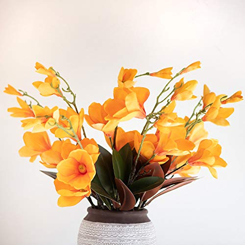 THYME TO BLOOM Artificial Decorative Magnolia Silk Fake Flowers Designer Picks for Home Decor or Wedding Party  (Orange) (Flowers Artificial Bloom)