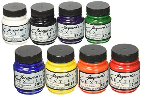 Jacquard Products JAC1000 Textile Color Fabric Paint (8 Pack), 2.25 oz, Primary & Secondary Colors, Assorted