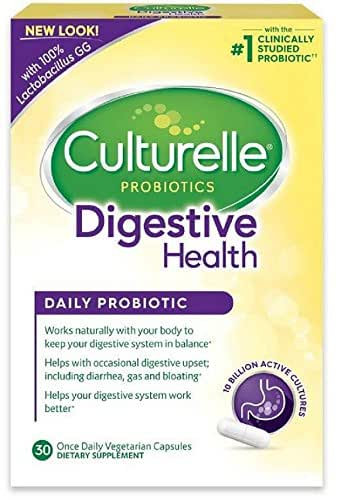 Culturelle Daily Probiotic, 30 count Digestive Health Capsules, Contains 100% Lactobacillus GG –The Most Clinically Studied Probiotic