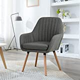 LSSBOUGHT Contemporary Indoor Muted Fabric Arm Chair, Accent Chair with Solid Wood Frame Legs (Gray)